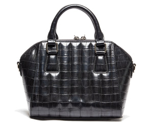 Black Faux Crocodile Mini Lady Vamp Handbag - Mini Atomic Totes