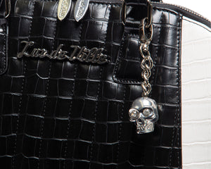 Faux Black and White Crocodile Lady Vamp - Mini Atomic Totes
