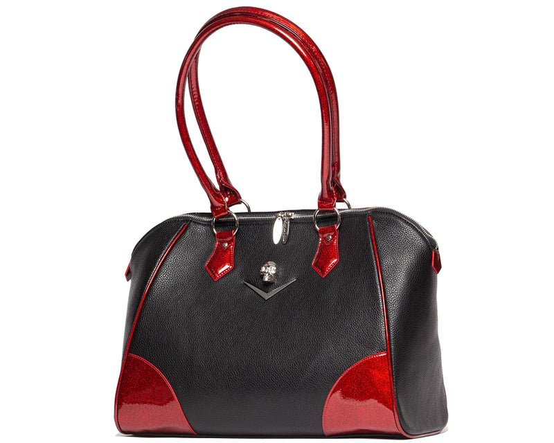 Wicked Tote Black Matte with Crimson Red Sparkle - Mini Atomic Totes