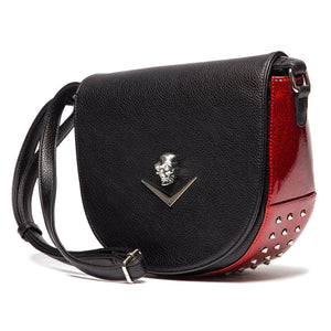 Wicked Saddle Bag Black Matte with Crimson Red Sparkle - Mini Atomic Totes