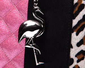 Cha Cha Tote Black Matte with Pink Sparkle and Leopard