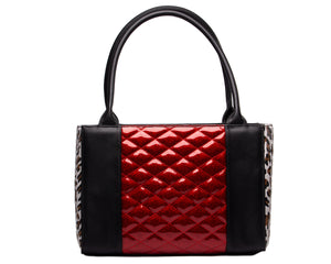 Cha Cha Tote Black Matte with Crimson Red Sparkle and Leopard