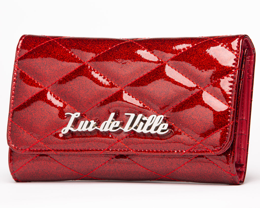 Crimson Red Sparkle Route 66 Wallet