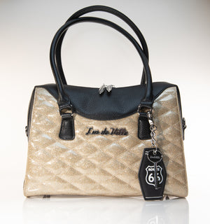 Route 66 Handbag Tote Black and Champagne Sparkle - Mini Atomic Totes