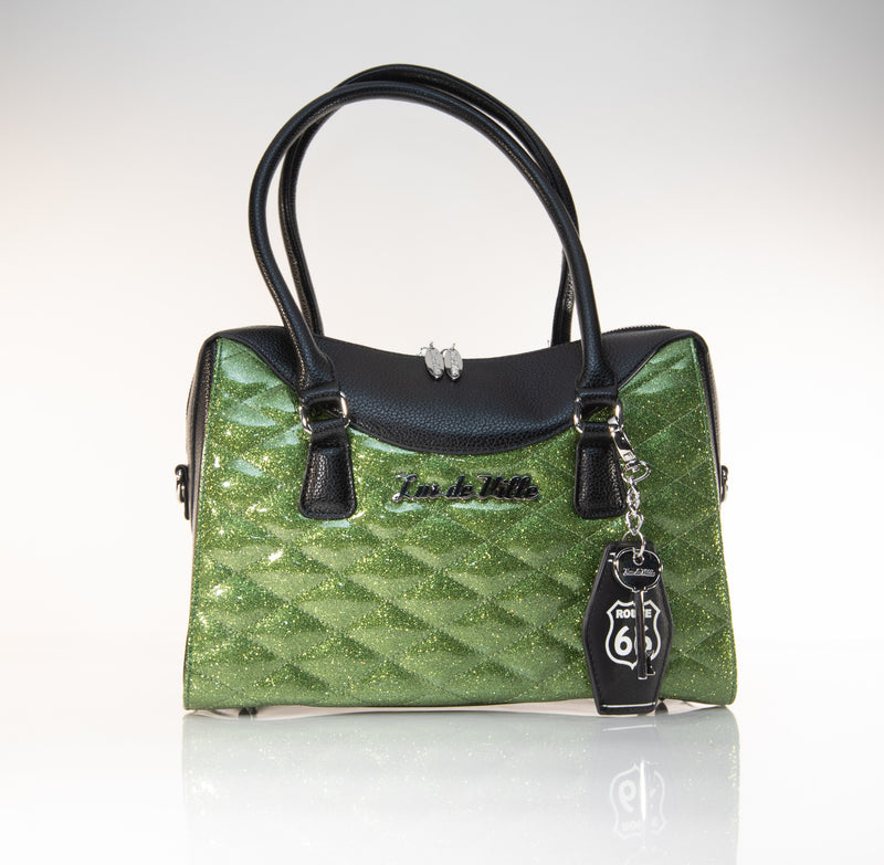 Route 66 Tote Black and Martini Green Sparkle - Mini Atomic Totes