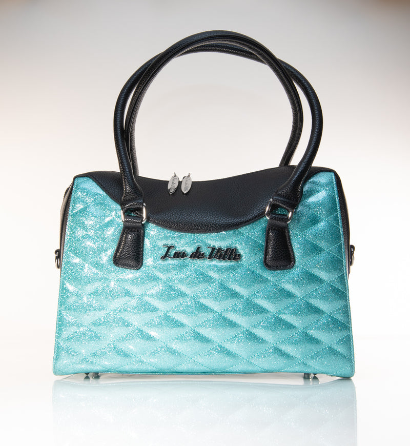 Route 66 Handbag Tote Black and Mermaid Blue Sparkle - Mini Atomic Totes