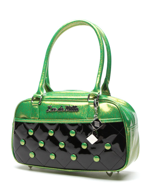 Cosmic Tote Small Black and Lime Green Sparkles - Mini Atomic Totes