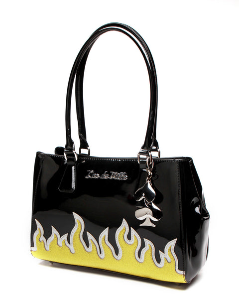 Darlin' Diabla Flame Tote Black Shiny Gold and Silver - Mini Atomic Totes