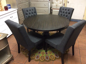 Best Master Antique Black 5 Piece Dining Set, Charcoal Chairs
