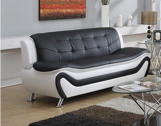 Machelle Modern Black White Faux Leather Sofa