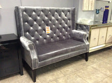 Colton Gray Velvet Highback Jeweled Loveseat