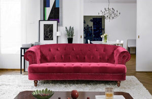 Lambdin Chesterfield Bordeaux Red Velvet Sofa