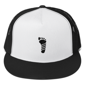 White/Black Footprint Trucker Cap