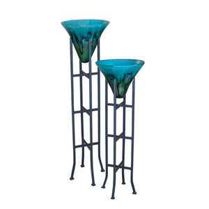 Turquoise Glass Cone Floor Vases with Stand