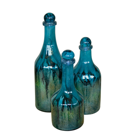 Turquoise Glass Bottles / set of 3