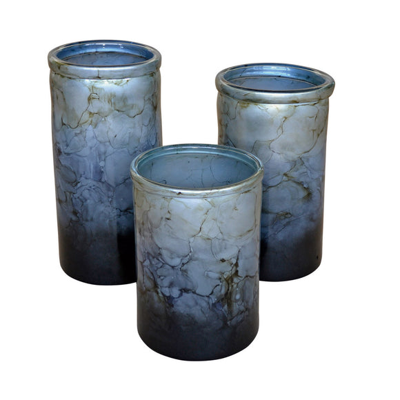 Dove Grey Glass Cylinders / set of 3