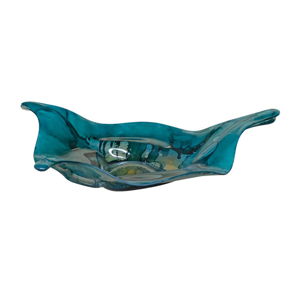 Turquoise Glass Triangle Bowl
