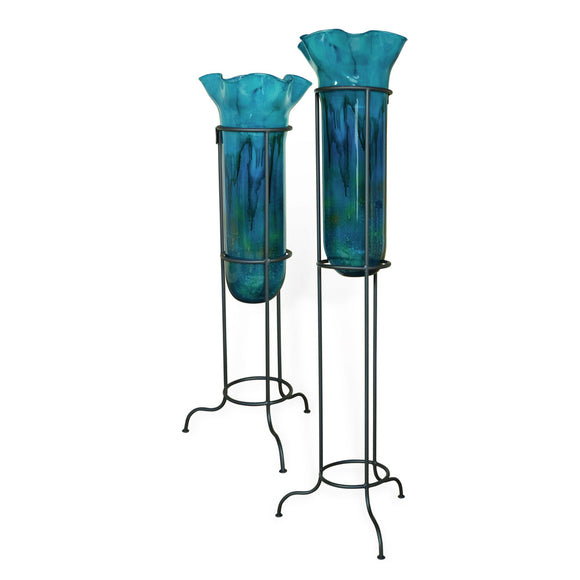Turquoise Glass Ruffle Top Floor Urns