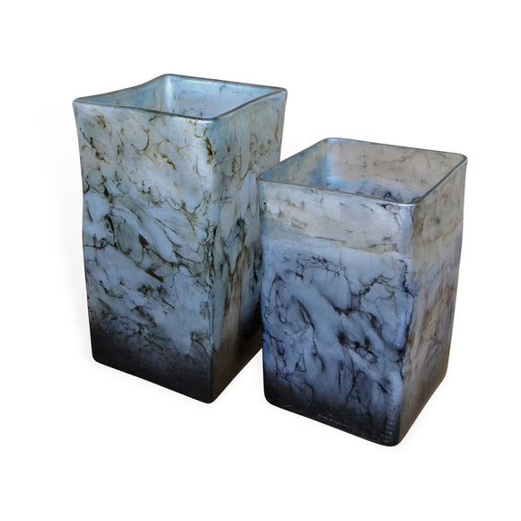 Dove Grey Glass Square Vases