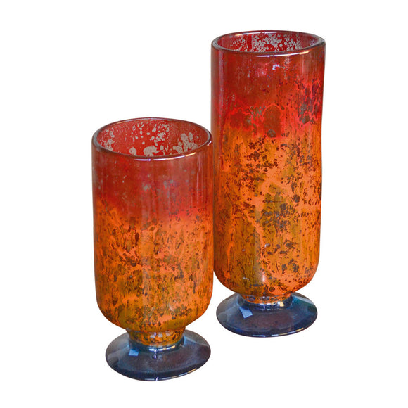 Orange Glow Glass Cylinders Cups / set of 2