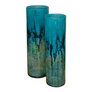 Turquoise Glass Cylinders / set of 2