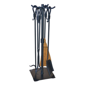 Shepherds Crook Firetool Set w/ Natural Broom