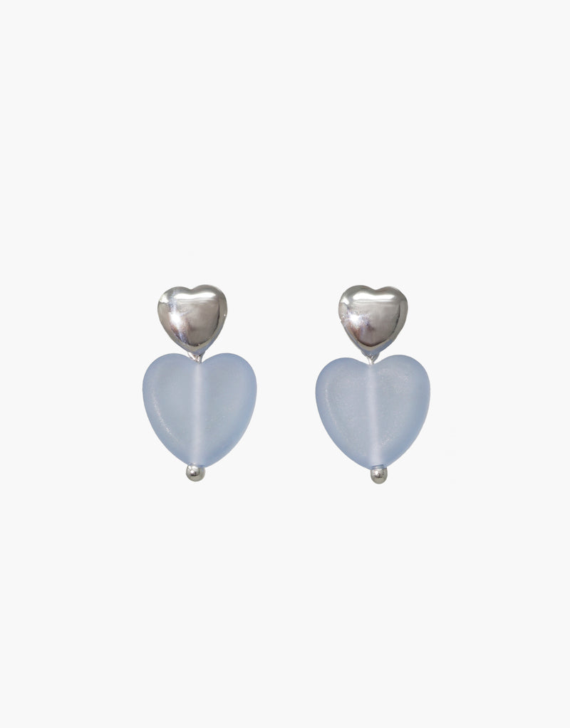 Love Earrings with Large Heart Drop