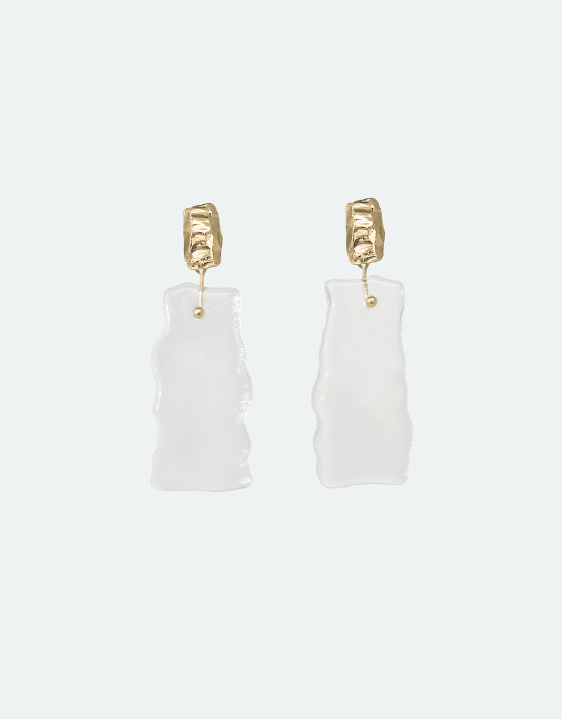 CLED Eco Conscious Sustainable upcycled jewelry made from Eco Gems and sterling silver from recycled glass | Afloat Earrings
