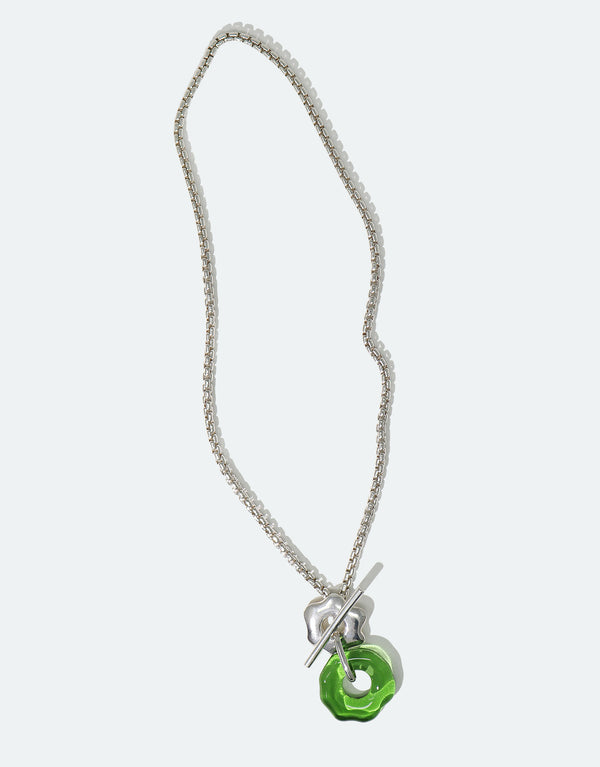 CLED Eco Conscious Sustainable upcycled jewelry made from Eco Gems and sterling silver from recycled glass | Avens Toggle Necklace