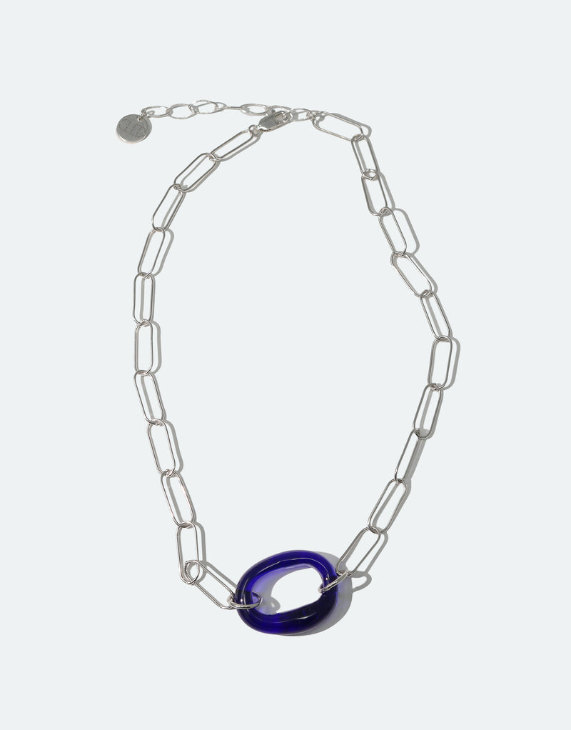 CLED Eco Conscious Sustainable upcycled jewelry made from Eco Gems and sterling silver from recycled glass | The Day Loop Necklace