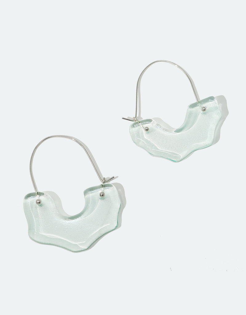 CLED Eco Conscious Sustainable upcycled jewelry made from Eco Gems and sterling silver from recycled glass | Polar Arch Hoop Earrings