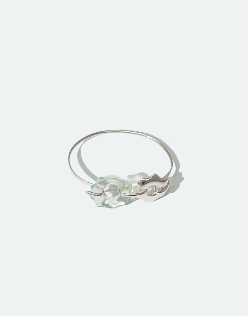 CLED Eco Conscious Sustainable upcycled jewelry made from Eco Gems and sterling silver from recycled glass | Avens Cuff Bracelet
