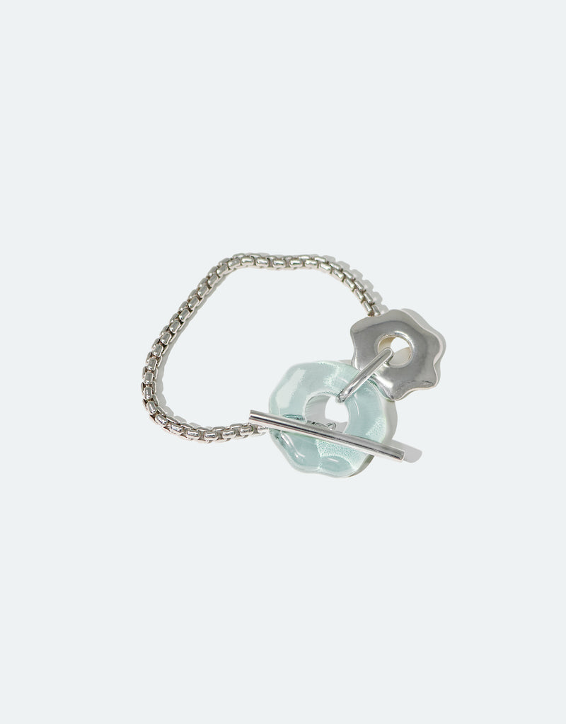 CLED Eco Conscious Sustainable upcycled jewelry made from Eco Gems and sterling silver from recycled glass | Avens Toggle Bracelet