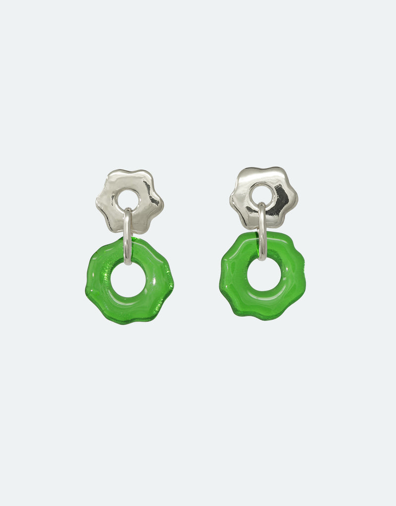 CLED Eco Conscious Sustainable upcycled jewelry made from Eco Gems and sterling silver from recycled glass | Avens Earrings