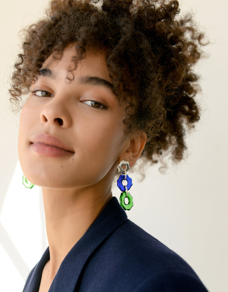 CLED Eco Conscious Sustainable upcycled jewelry made from Eco Gems and sterling silver from recycled glass | Avens Earrings Trio