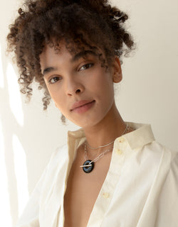 CLED Eco Conscious Sustainable upcycled jewelry made from Eco Gems and sterling silver from recycled glass | The Day Torus Necklace