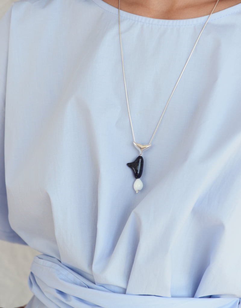 CLED Eco Conscious Sustainable upcycled jewelry made from Eco Gems and sterling silver from recycled glass | Orca Necklace