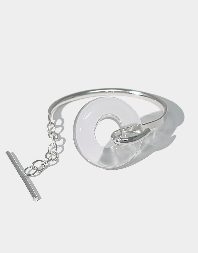 CLED Opening Torus Toggle Bracelet upcycled glass sterling silver from recycled glass sustainable jewelry