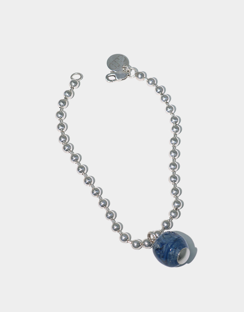 CLED Ball Chain Bracelet upcycled glass sterling silver from recycled glass sustainable jewelry