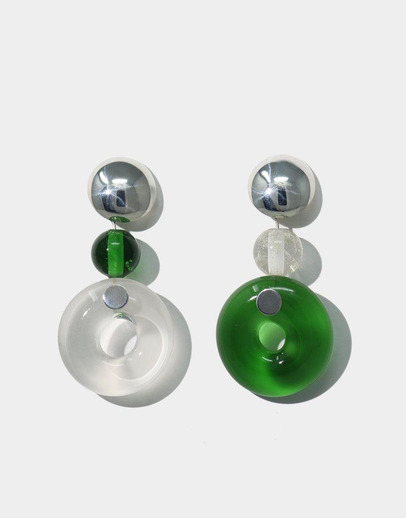 CLED Clear Green Circle Earrings upcycled glass sterling silver earrings from recycled glass sustainable jewelry
