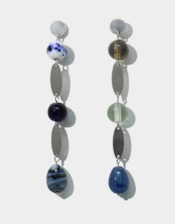 CLED Blu Earrings upcycled glass sterling silver earrings from recycled glass sustainable jewelry