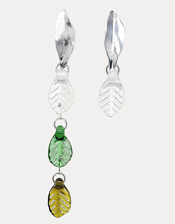 CLED upcycled sustainable jewelry with sterling silver and recycled/ discarded glass bottles