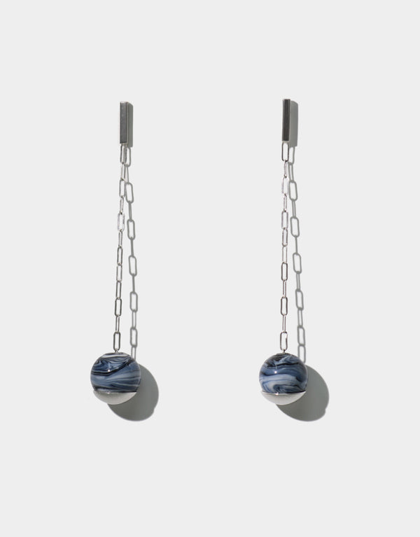 CLED Gravity Drop Earrings upcycled glass sterling silver earrings from recycled glass sustainable jewelry