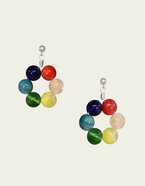 CLED Eco Conscious Sustainable upcycled jewelry made from Eco Gems and sterling silver from recycled glass | Love is Love Earrings