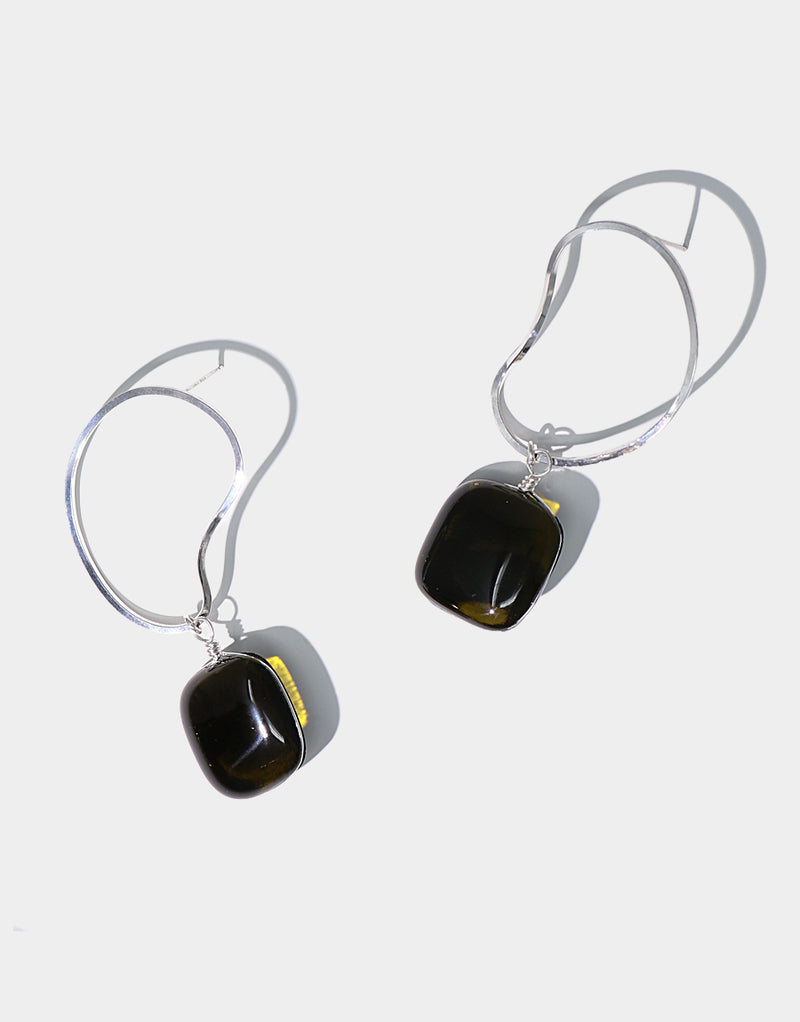 CLED Pebble Earrings upcycled glass sterling silver from recycled glass sustainable jewelry