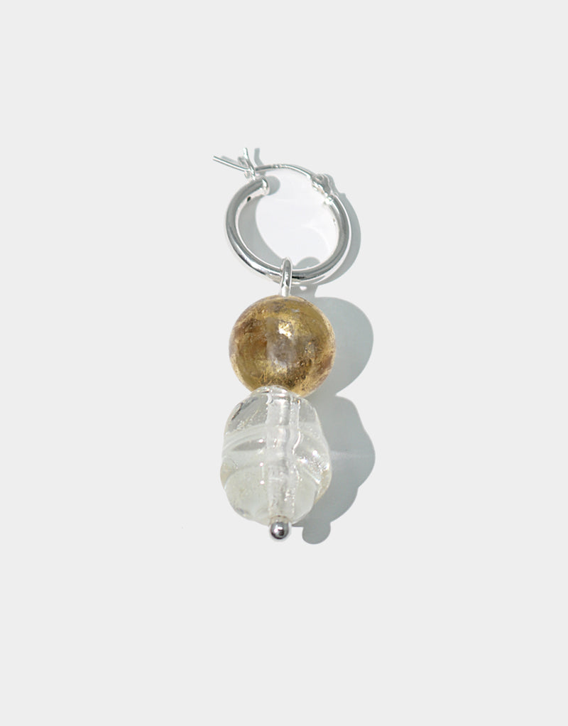 CLED Mix and Match Earrings Clear Gold upcycled glass sterling silver from recycled glass sustainable jewelry