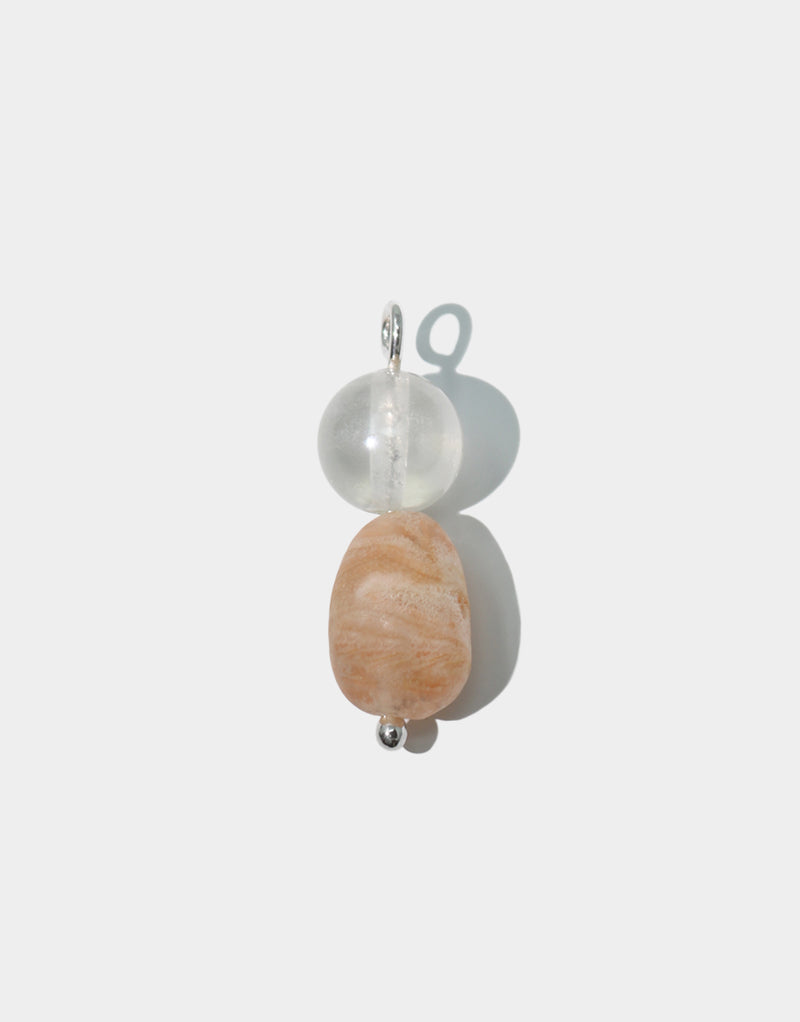CLED Mix and Match Earrings Peach Pearl upcycled glass sterling silver from recycled glass sustainable jewelry