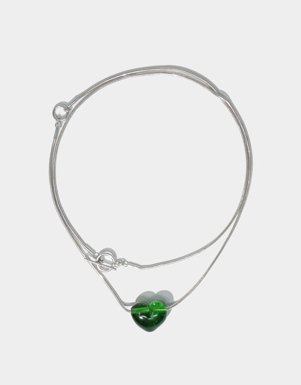 CLED Heart Necklace upcycled glass sterling silver from recycled glass sustainable jewelry