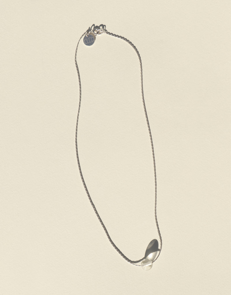 CLED Minimal Ball Necklace sustainable jewelry upcycled glass jewelry sterling silver necklace from recycled materials