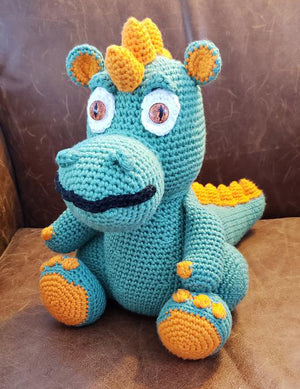 Amigurumi Baby Dragon with Orange Glass Eyes